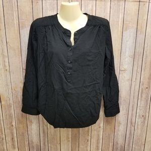 Loft black 3/4 roll sleeve top